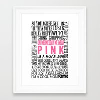 mean girls Framed Art Prints featuring Mean Girls Quotes by TurquoisedHearts