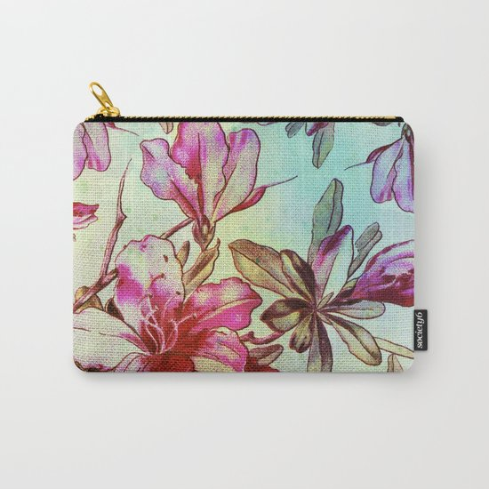 pink lily and turquoise touch Carry-All Pouch