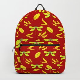 Pretty beautiful golden dragonflies, leaves elegant stylish dark red nature spring pattern. Backpack
