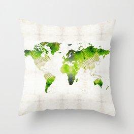 Green World Map Wall Art - Sharon Cummings Throw Pillow