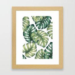 Monstera botanical leaves illustration pattern on white Framed Art Print