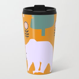 Bear walking between flowers and pine trees Travel Mug