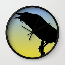 Common Raven Silhouette at Sunrise Wall Clock