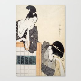 Couple with a Standing Screen by Kitagawa Utamaro Canvas Print