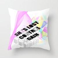 joy division Throw Pillows featuring Joy or Division? by minnie's got a girlfriend