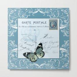 Blue postcard Metal Print