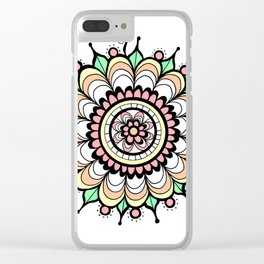 Doodle Art Flower Medallion - Pink Green Clear iPhone Case