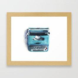 Little Blue Typwriter Framed Art Print