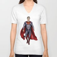 man of steel V-neck T-shirts featuring man of steel by Raymond Eagen