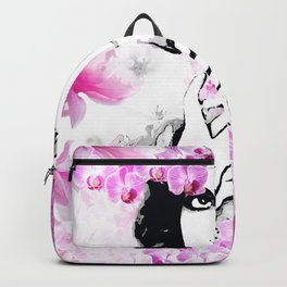 CLARA WOMAN PINK ORCHIDS AND MAGNOLIAS Backpack
