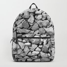Gravel Rocks Black and White Seamless Pattern Backpack