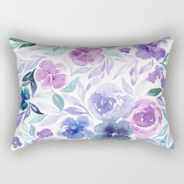 Watercolor Wildflower Meadow Floral Print Rectangular Pillow