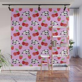 Cute funny Kawaii chibi little playful baby panda bears, happy sweet ripe summer red cherries and strawberries light pastel pink seamless pattern design. Nursery decor. Wall Mural