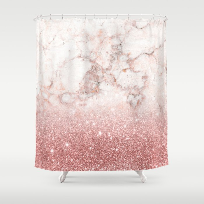 Elegant Faux Rose Gold Glitter White Marble Ombre Shower Curtain By Staypositivedesign Society6
