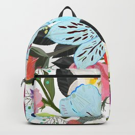 Alstroemerias, Fucisia, Roses, Vanilla, Cosmos Flower. Floral Colorful Bouquet Pattern Backpack