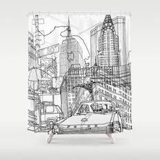 New York! B&W Shower Curtain