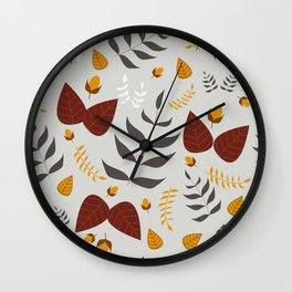 Autumn leaves and acorns - grey, brown and ochre Wall Clock