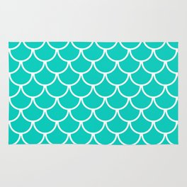 Aqua Blue Fish Scales Pattern Rug