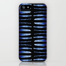 """Black and Blue Watercolor Pattern """"Double Thorax"""" iPhone Case"""