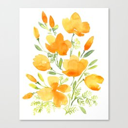 Watercolor california poppies bouquet Canvas Print