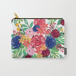 Navy Blue and Red watercolor boho chic Flowers hand paint Carry-All Pouch