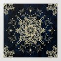 Pale Gold Floral Design On A Blue Textured Background by inspiredimages
