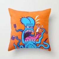 cooking Throw Pillows featuring Extreme Cooking by Zoo&co on Society6 Products