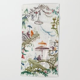 Enchanted Forest Chinoiserie Beach Towel