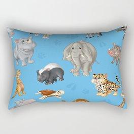 African Animals-Kids Blue background Rectangular Pillow