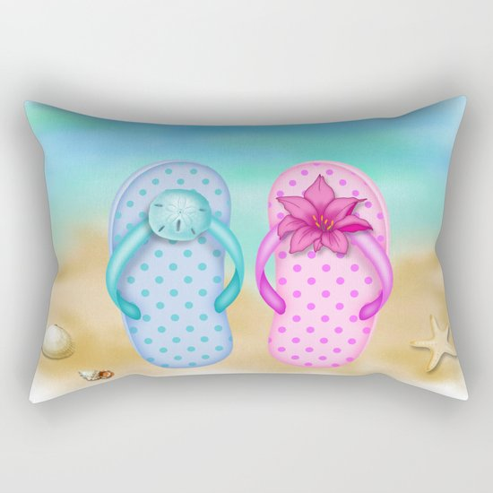 Beach & summer slippers  Rectangular Pillow