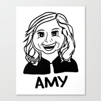 amy poehler Canvas Prints featuring Amy Poehler by Flash Goat Industries