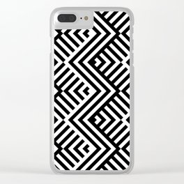 Op art pattern with striped black and white zigzags Clear iPhone Case