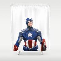 captain silva Shower Curtains featuring Captain by Carrillo Art Studio
