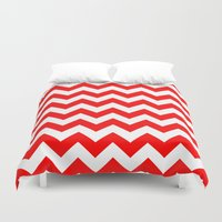 chevron Duvet Covers featuring Chevron (Red/White) by 10813 Apparel