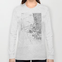 Vintage Map of Oakland California (1959) BW Long Sleeve T-shirt