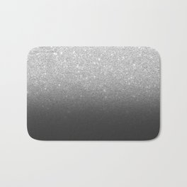 Modern faux silver glitter ombre grey black color block Bath Mat