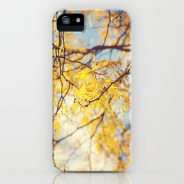 Gold Leaves and Blue Sky iPhone Case