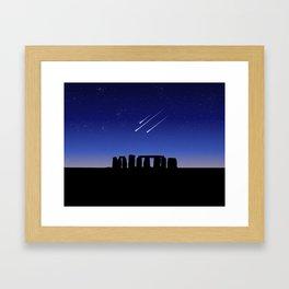 Stonehenge and Shooting Stars At Night Framed Art Print