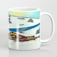 snowboarding Mugs featuring Snowboarding ; Putting In Your Eight Hours by N_T_STEELART