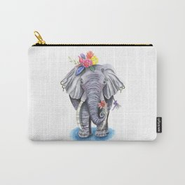 Elephant Art with Flower Crown Carry-All Pouch