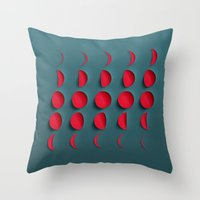 the moon Throw Pillows featuring Moon by Robotic Ewe
