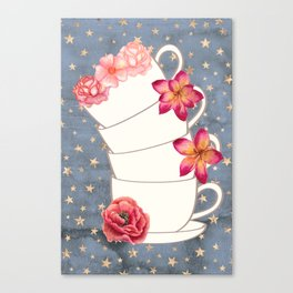 Floral Coffee Cups Canvas Print
