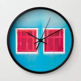 Blue Greek house with Red windows Wall Clock