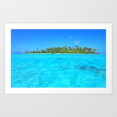 Sea In Front Of Palm Trees in French Polynesia Art Print