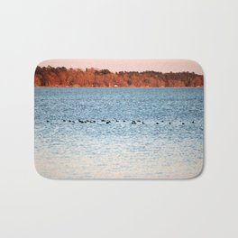 American Coots Crossing Lake Bath Mat