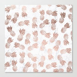 Modern faux rose gold pineapples white marble pattern Canvas Print