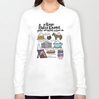 leslie knope Long Sleeve T-shirts featuring Things Leslie Knope puts Whipped Cream on by Liana Spiro