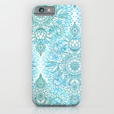 Turquoise Blue, Teal & White Protea Doodle Pattern iPhone 6 Slim Case