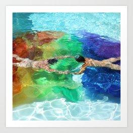Holding on to the Rainbow Art Print