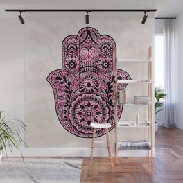 Watercolor Black  Pink Hamsa Hand Wall Mural